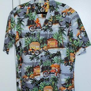 Aloha Republic Hawaiian Floral Biker Shirt XL